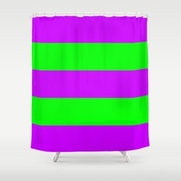 Neon Purple & Green Wide Horizontal Stripes #2 Shower Curtain