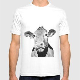 Cow photo - black and white T-shirt