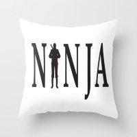 ninja Throw Pillows featuring NiNJA by chanchan