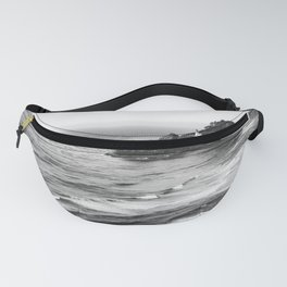 Pacific Northwest Grandeur - Heceda Lighthouse Black and White Fanny Pack