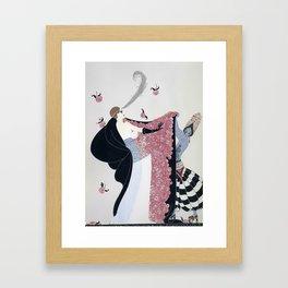 "Art Deco 1920's ""Rose Cloak"" Illustration Framed Art Print"