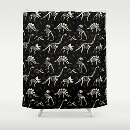 Dinosaur Fossils on Black Shower Curtain