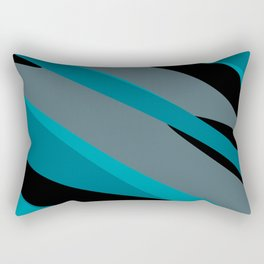 Turquoise gray and black camo abstract Rectangular Pillow