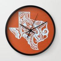 texas Wall Clocks featuring Texas by bkraftydesigns
