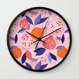 Pink Pomegranates Wall Clock