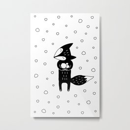 Little Fox And Snowfall Metal Print