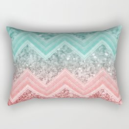 Summer Vibes Glitter Chevron #1 #coral #mint #shiny #decor #art #society6 Rectangular Pillow
