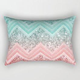 Summer Vibes Glitter Chevron #1 #coral #mint #shiny #decor #art #society6 Rectangular Pillow
