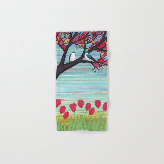 tree swallows in the stained glass tree with tulips and frogs Hand & Bath Towel