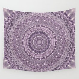 Purple feather mandala Wall Tapestry