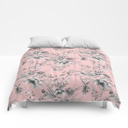 Chinoiserie Flowers Millennial Pink Comforters