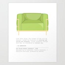 Le Corbusier Lounge Chair in Pantone Greenery Art Print