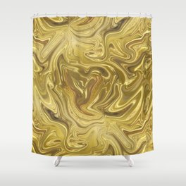 Rich Gold Shimmering Glamorous Luxury Marble Shower Curtain