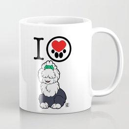 I Heart furBags - English Sheepdog Coffee Mug