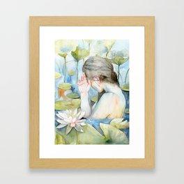 Let me go, White Water Lily Girl Framed Art Print