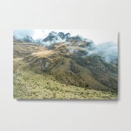 Mountain Scene | Cloudy Green Mountain Nature Landscape Photography in Peru Metal Print