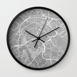 Silver Leeds map Wall Clock