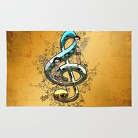 decorative Area & Throw Rugs featuring Decorative clef  by nicky2342