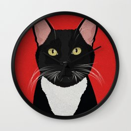 Tuxedo Cat Design in Bold Colors for Pet Lovers Wall Clock