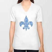 fleur de lis V-neck T-shirts featuring Blue Fleur de Lis by Riaora Creations