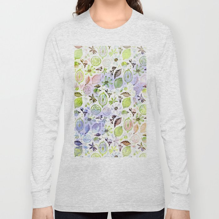 Lemons and flowers- floral Summer pattern on #Society6 Long Sleeve T-shirt