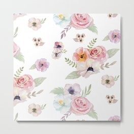 Floral I - White Metal Print