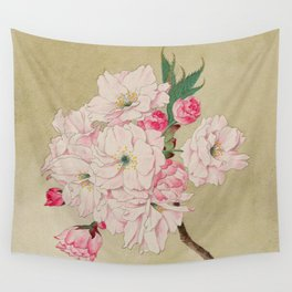 Fukurokuju - God of Longevity Cherry Blossoms Wall Tapestry