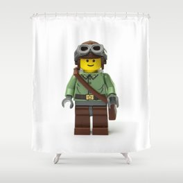 Ranger Minifig with gloves and helmet and goggles Shower Curtain