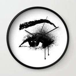 Black and White Eye makeup with paint drips Wall Clock