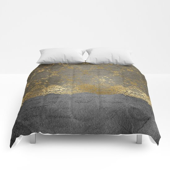 Pure elegance I- gold luxury lace on black grunge backround Comforters