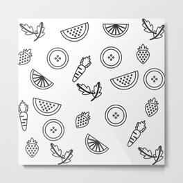 Black and White Modern Kitchen Pencil Sketch Pattern Metal Print
