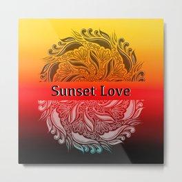 Sunset Love Mandala Poster Metal Print
