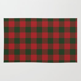 90's Buffalo Check Plaid in Christmas Red and Green Rug
