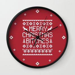 Merry Christmas Bitches Funny Xmas Quote Wall Clock