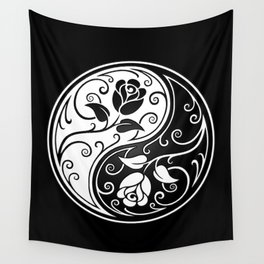Black and White Yin Yang Roses Wall Tapestry