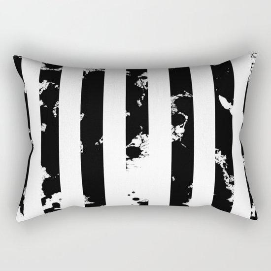 Splatter Bars - Black ink, black paint splats in a stripey stripy pattern Rectangular Pillow