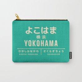 Retro Vintage Japan Train Station Sign - Yokohama Kanagawa Green Carry-All Pouch