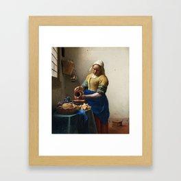 The Milkmaid by Johannes Vermeer Framed Art Print