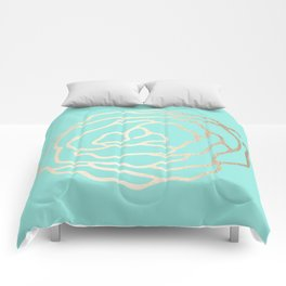 Flower in White Gold Sands on Tropical Sea Blue Comforters