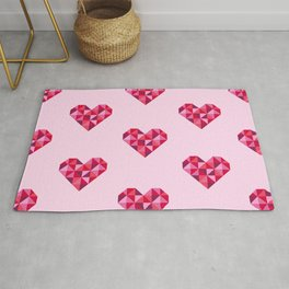 Pink disco hearts pattern Rug