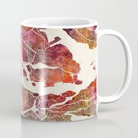 stockholm Mugs featuring Stockholm by MapMapMaps.Watercolors