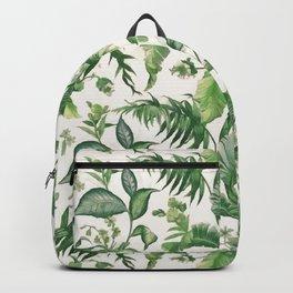 Green tropical leaves Backpack