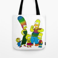 simpsons Tote Bags featuring The Simpsons by Luna Portnoi