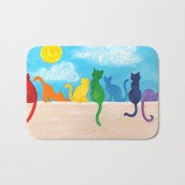Catch A Rainbow - Cats on a Wall Bath Mat