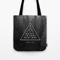 woods Tote Bags featuring Woods -- Bon Iver by Zeke Tucker