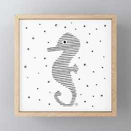 cute seahorse, black lines, drawing Framed Mini Art Print
