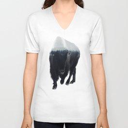 Bison In Mist Unisex V-Neck