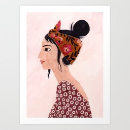 Embroidered scarf Art Print