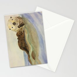 Mama and baby otters Stationery Cards