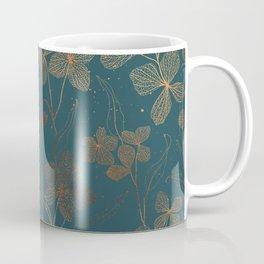 Copper Art Deco Flowers on Emerald  Coffee Mug